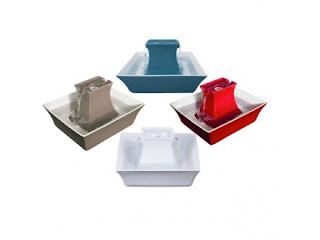 PetSafe Drinkwell Pagoda fountains in white, taupe, red, and Himalayan blue