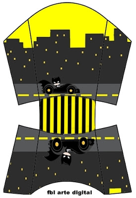 Batman in Black and Yellow, Free Printable Fries Box.