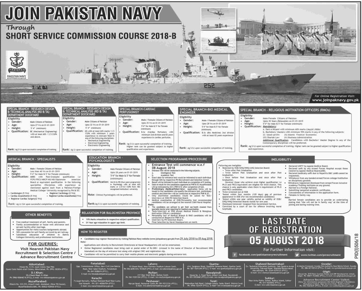 Latest Jobs in Pak Navy 2018 - 08 August 2018