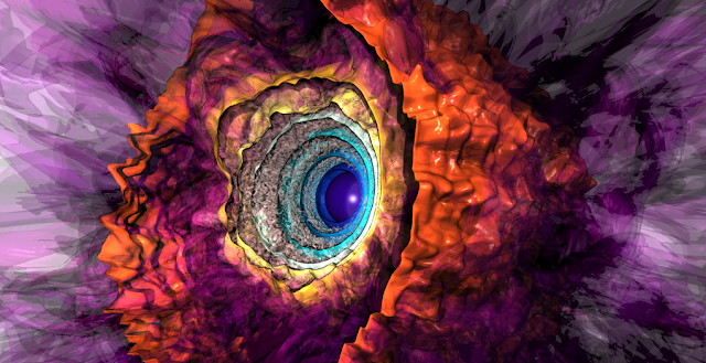 Stellar Geyser: A snapshot from a simulation of the churning gas that blankets a star 80 times the sun's mass. Intense light from the star's core pushes against helium-rich pockets in the star's exterior, launching material outward in spectacular geyser-like eruptions. The solid colors denote radiation intensity, with bluer colors representing regions of larger intensity. The translucent purplish colors represent the gas density, with lighter colors denoting denser regions. Joseph Insley/Argonne Leadership Computing Facility