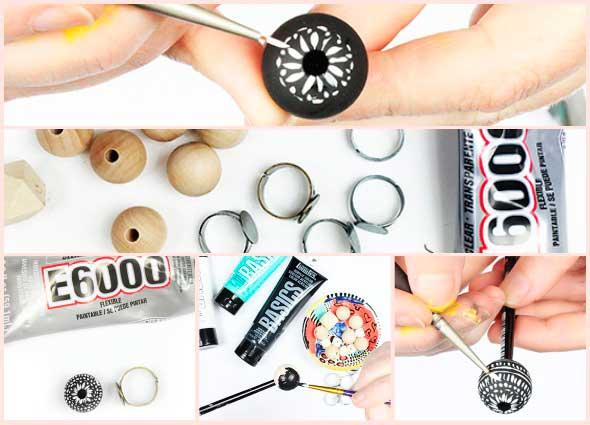 anillos, sortijas, pintadas, a mano, artesanias, zentangles, bisutería