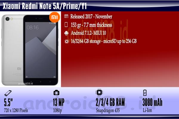 Spesifikasi Xiaomi Redmi Note 5A/Prime/Y1