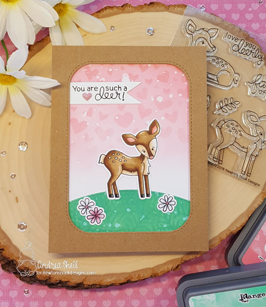 You are such a deer by Andrea features Deer Friend, Holiday Foliage, and Tumbling Hearts by Newton's Nook Designs; #newtonsnook