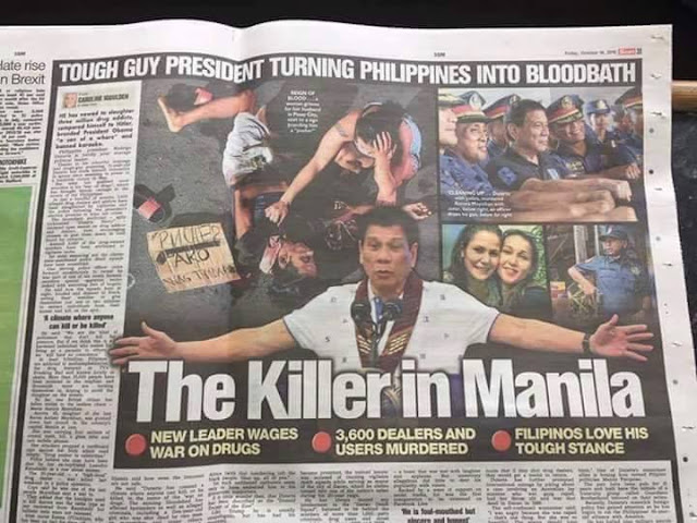 NETIZENS REACT: Photo Of President Duterte In A Newspaper With Caption 'Tough Guy President Turning Philippines Into Bloodbath'