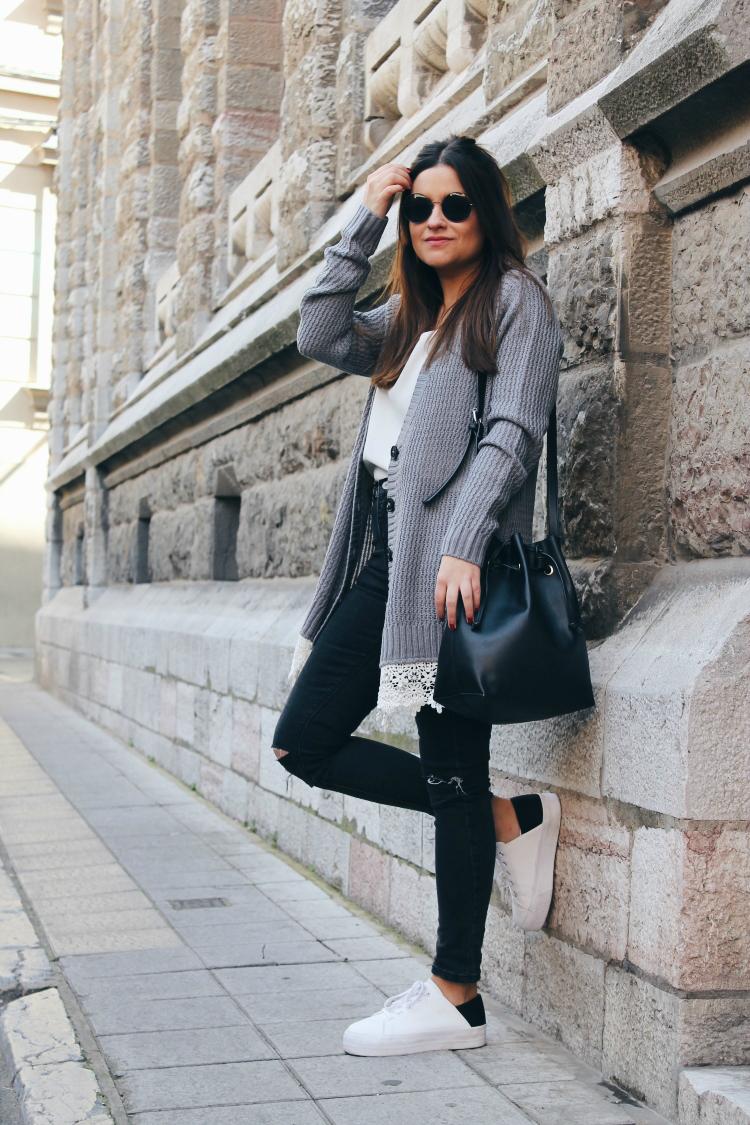 cardigan gris blog de moda leon