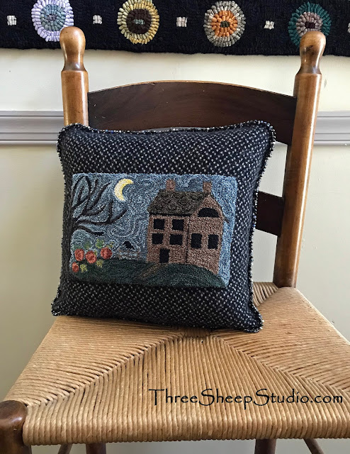 Still Of The Night Punch Needle Pillow by Rose Clay at ThreeSheepStudio.com   (blog)