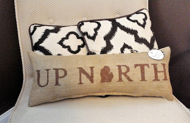 Up North Michigan burlap pillow by Lina and Vi Plymouth MI