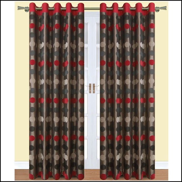 red and grey curtains dotted style