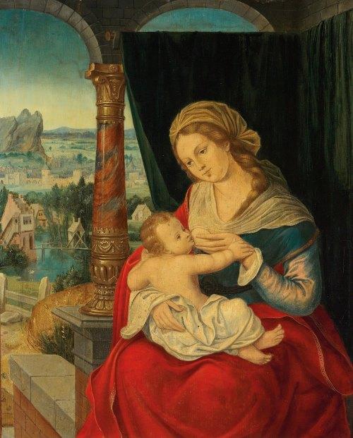 Антверпенская школа (Antwerp School), 1530-1540 Мадонна с Младенцем в пейзаже