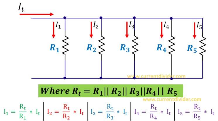 Current divider rule for five parallel resistors