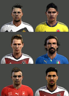 Faces: Mirallas, James Rodriguez, Durm, Pirlo, Shaqiri, Emre Can, Pes 2013