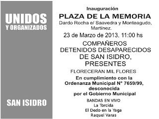 Unidos y Organizados inauguran plaza de la memoria en San Isidro