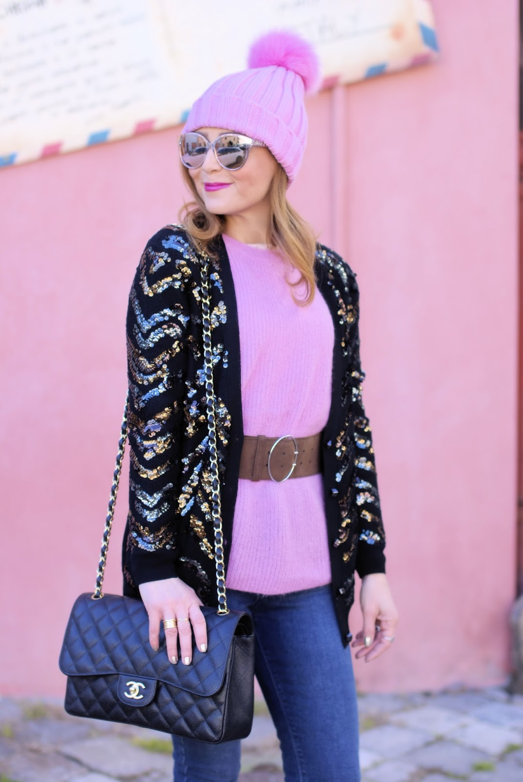 How to wear sequins in the daytime with Diorama2 sunglasses on Fashion and Cookies fashion blog, fashion blogger style