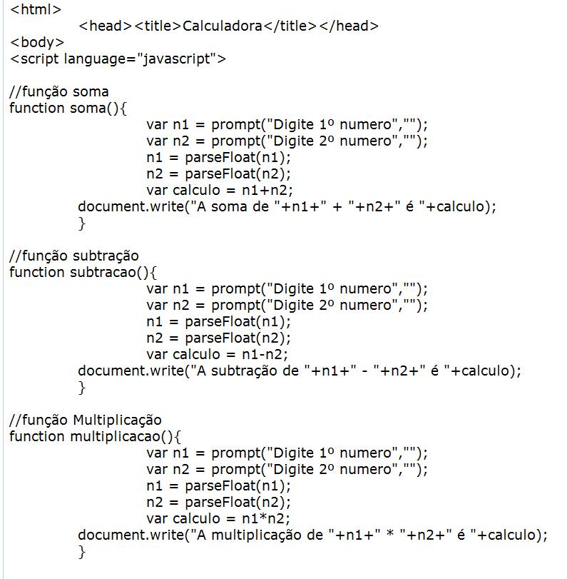 Codigo Javascript Calculadora Estudando Pra Caramba