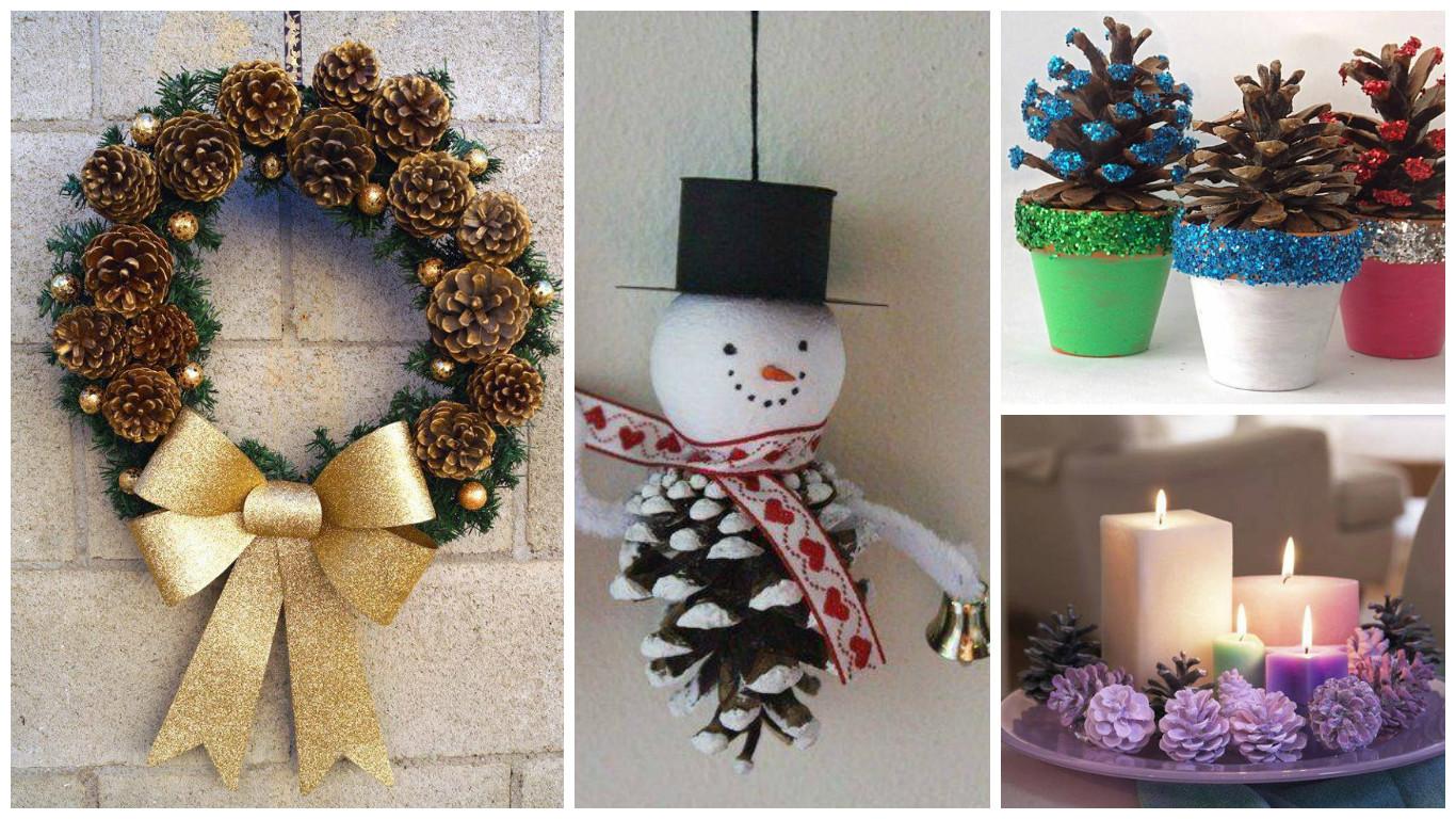 11 adornos navide os para hacer con pi as for Arboles de navidad manualidades navidenas