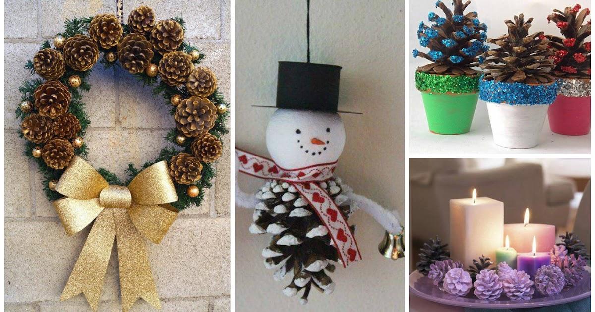 11 adornos navide os para hacer con pi as - Hacer adornos navidenos ...