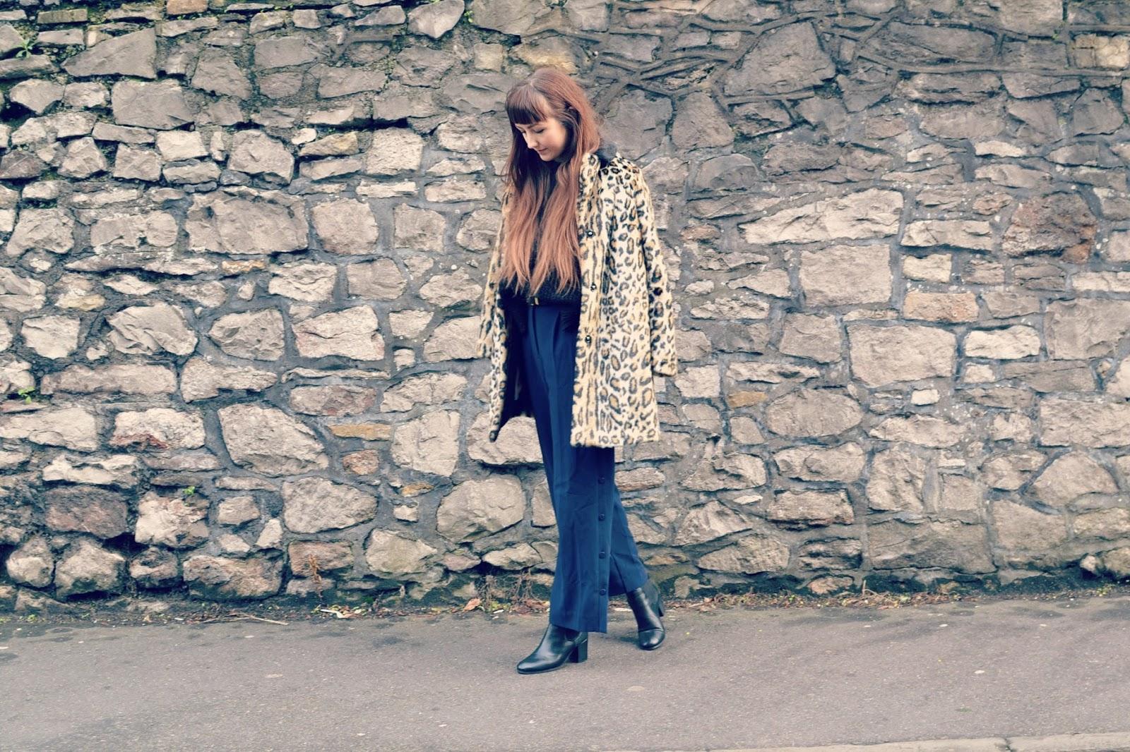 Topshop faux fur coat ASOS culottes Topshop Megan boots