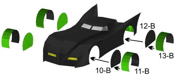 Step 11 in Batmobile paper model build instruction