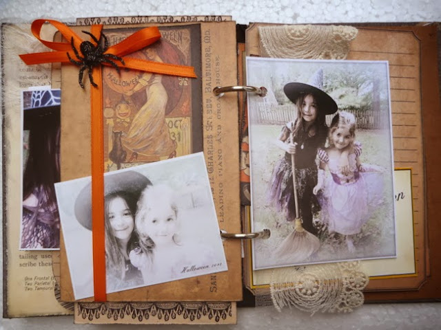 Mixed Media Halloween Mini Album with Vintage Ephemera, Photos, Patterned Paper, and Stamping