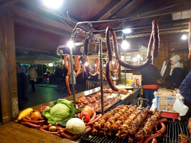 Salchichas, Mercado Navidad de Cracovia