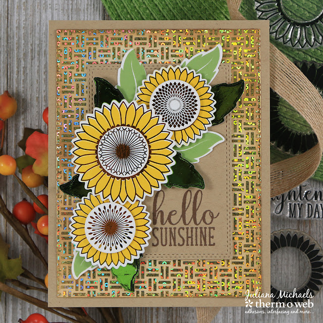 Hello Sunshine Card by Juliana Michaels featuring Therm O Web and Gina K Designs Graphic Sunflowers StampnFoil Stamp Set, Dies and Foil Mates