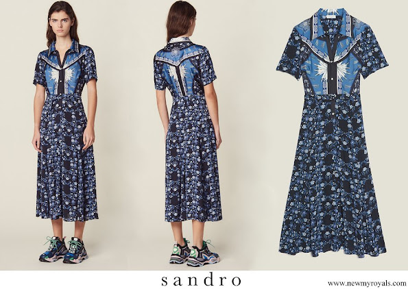 Princess Alexia wore Sandro long flowing printed shirt dress