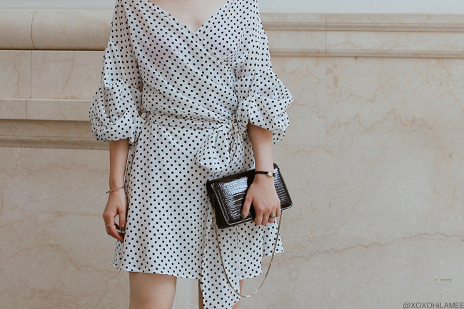 Japanese Fashion Blogger,MizuhoK,20180801OOTD,SheIn=dot white wrap mini dress / hand me down from mother=black bag / RANDA=black ribbon heels / KAYA= Mizuhiki earrings streetstyle