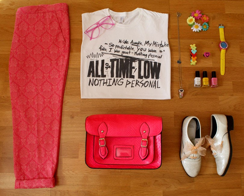 casual inspired band t-shirt fashion outfit flat lay from the high street