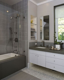 extraordinary small bathroom design plus modern white floating vanity cabinets also glass wall niches