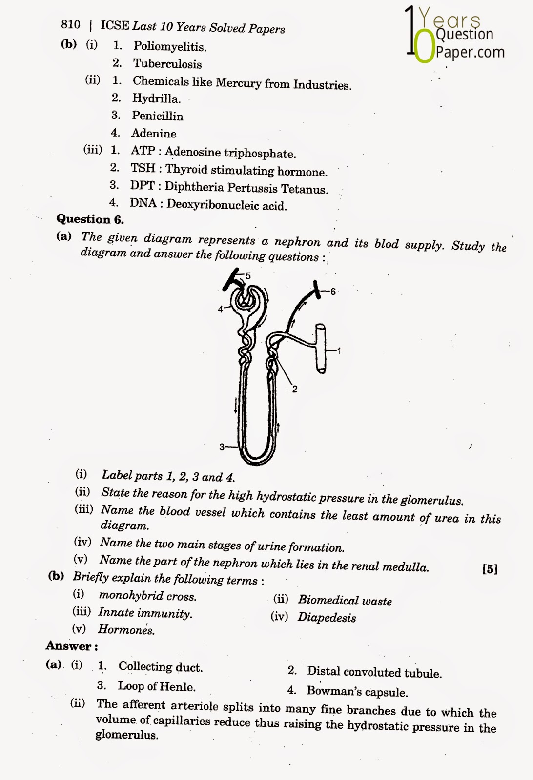 icse class 10th Biology solved question paper 2014