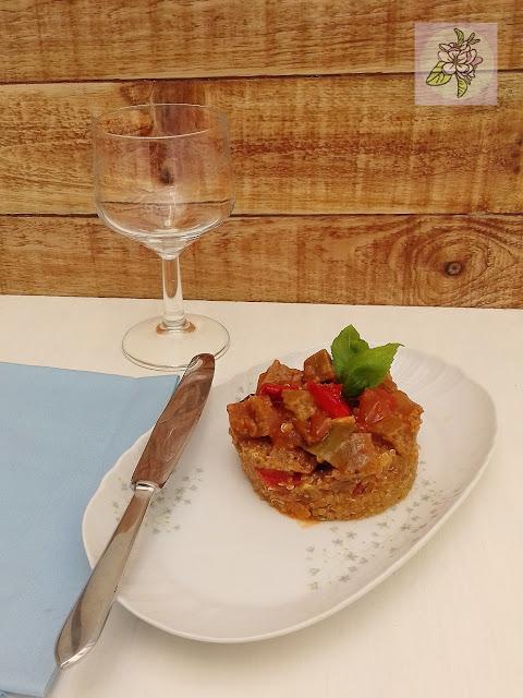 Quinoa con Seitan, Receta Vegana.