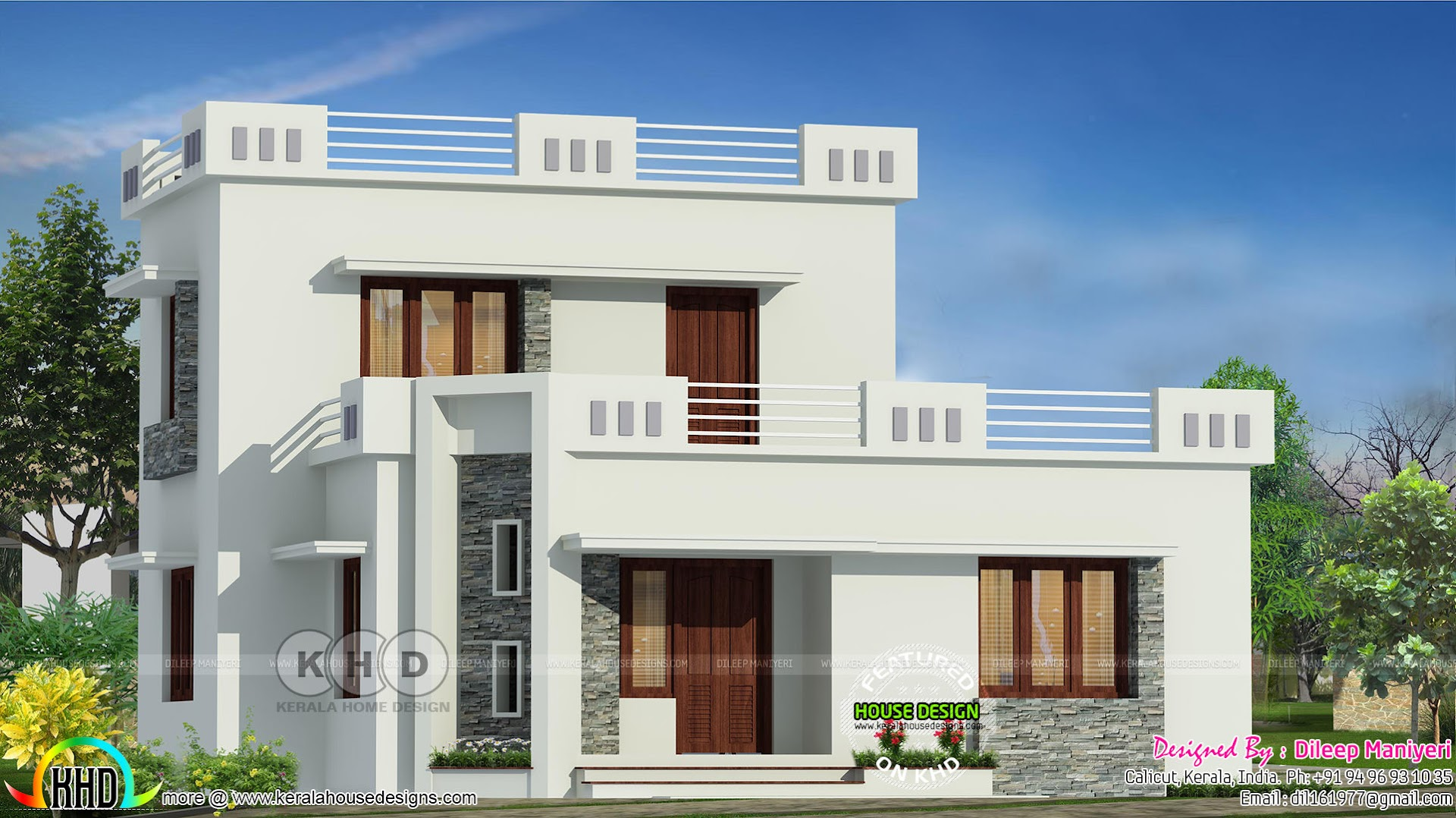1444 Sq Ft Flat Roof 3 Bedroom Home Kerala Home Design