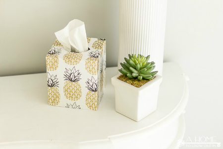 Easy Decoupage Tissue Box Cover by A Home to Grow Old In
