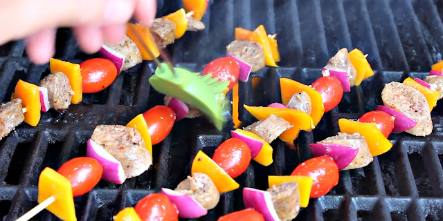 Step Five: Cook and baste skewers on grill