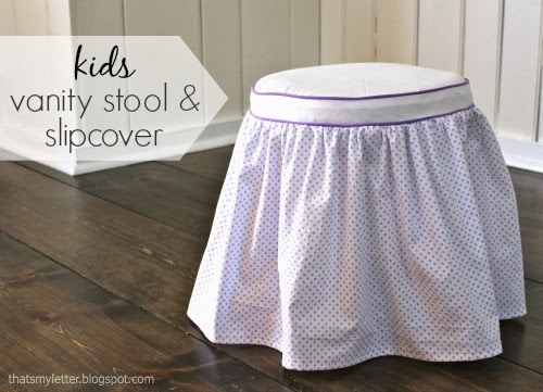 diy kids vanity stool and slipcover