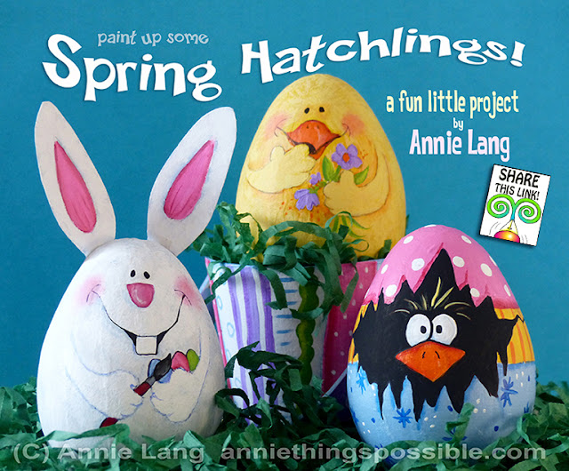Download Annie Lang's hatchling egg character patterns for painting your own paper mache springtime project!