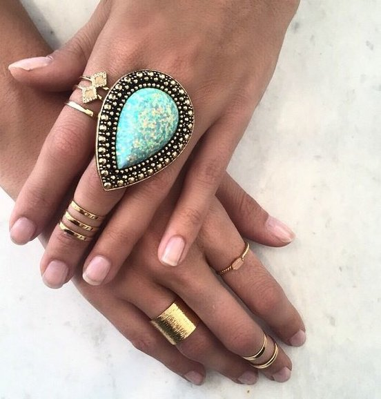 Turquoise Ring with Gold Rings