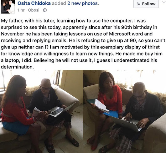 90-Year-Old Father Of Ex-FRSC Boss, Osita Chidoka, Pictured Learning How To Use A Computer