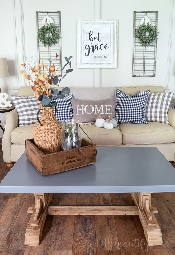 farmhouse fall decor - simple and neutral