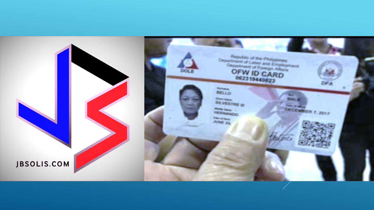 """This is the back side of the OFW ID. It has the signature of DOLE secretary Silvestre Bello and DFA secretary Allan Peter Cayetano. It has also the logos of partner agencies like PAG-IBIG, POEA, OWWA, and Philhealth The back side of the OFW ID says """"This ID certifies that the holder is a bonafide Overseas Filipino Worker (OFW) whose ID was duly processed by the POEA. This serves as the OFW's travel exit clearance. This entitles the holder to travel tax and terminal fee exemptions. Any erasures, tampering, and alterations shall render this ID invalid. This ID card can be used the OFW in accessing ONE-STOP-SHOP eServices and transacting with government agencies. Read and Explore More: YOUR OFW ID or IDOLE ID LOOKS LIKE THIS, FRONT and BACK https://www.jbsolis.com/2017/12/your-ofw-id-or-idole-id-looks-like-this.html#ixzz5NCV10jwK FB Page: www.facebook.com/thoughtskoto"""