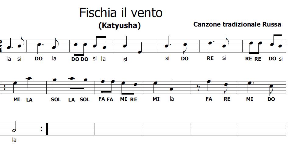 Musica e spartiti gratis per flauto dolce: Fischia il vento