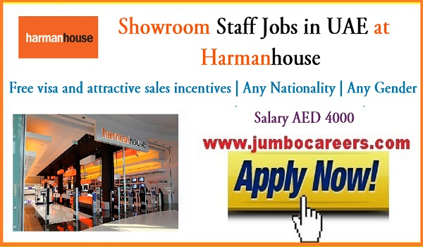 UAE showroom staff jobs for visit visa ana cancelled visa candidates,