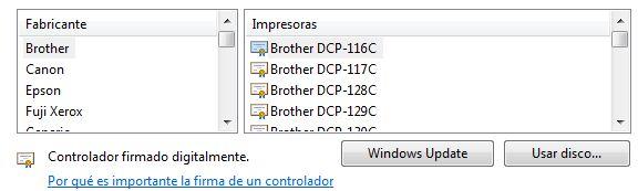 Impresoras disponibles para agregar en Windows.