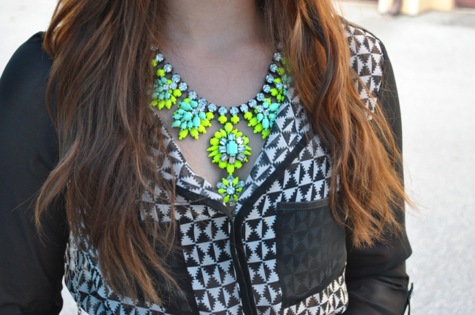 Blue skater skirt, neon gem stone necklace, charlotte russe print blouse, studded clutch bag
