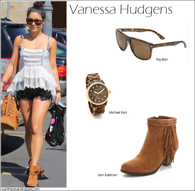 cf69cc56ad8b21 WHAT SHE WORE  Vanessa Hudgens in Studio City in Sam Edelman Fringe Booties  ~ I want her style - What celebrities wore and where to buy it. Celebrity  Style
