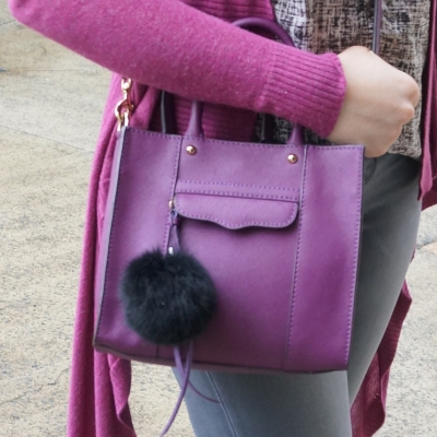 faux fur pom pom charm, Rebecca Minkoff mini MAB tote in plum | away from the blue