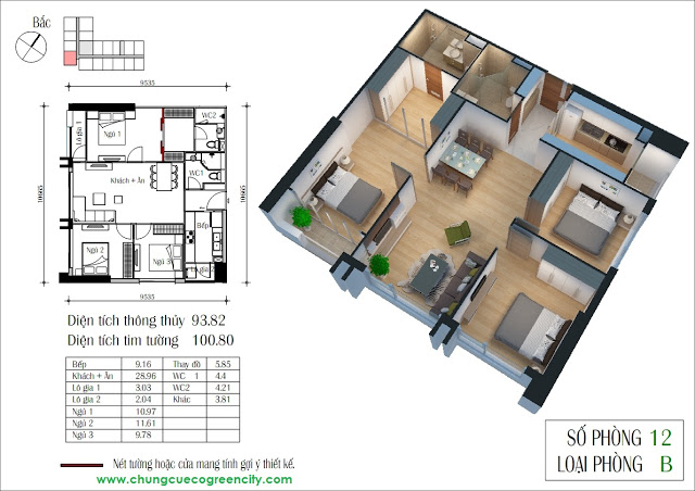 Thiết kế căn hộ 3 Phòng ngủ Eco green city