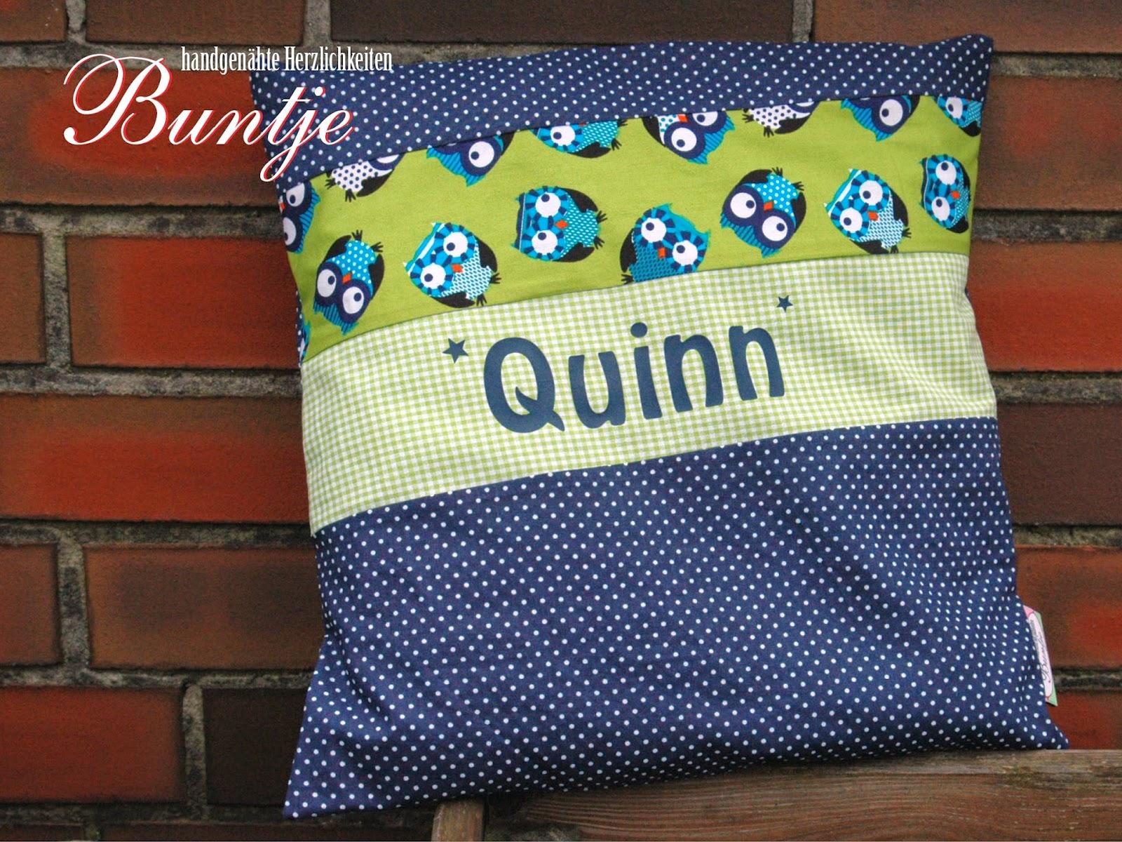 Namenskissen Kissen Name Geschenk Geburt Taufe Geburtstag Junge blau grün Eulen Tiere Quinn Buntje nähen handmade