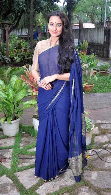 Sonakshi Sinha Looking Beautiful In Blue Saree Stills