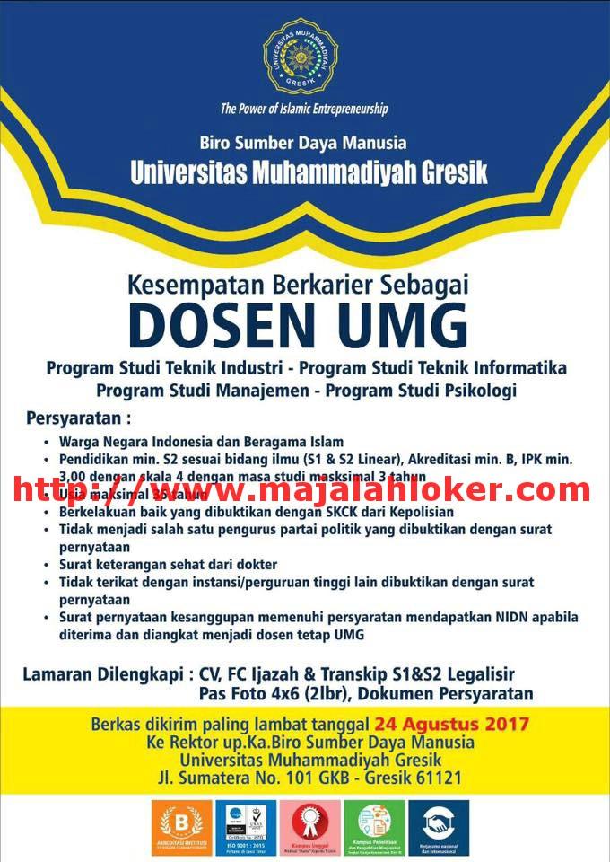 lowongan dosen manajemen, teknik informatika universita muhammadiyah gresik
